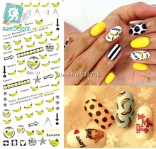 RU2PCS DS023 Golden 2017 Nail Diy Art Tips Decoration Sticker Nails Wraps Styling Glitter Banana Cute Water Transfer Sticker(China)