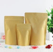 Qin.01.19/22*33+5cm Kraft Paper Doypack Zip Bag Stand up Zipper Pouches Snack & Coffee Beans Bag