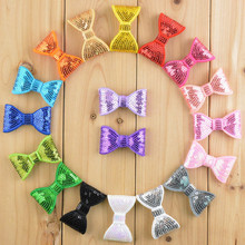 "60 PCS/LOT 2"" Sequin Bow Applique, Hair Bow Embellishment Headband Clippies Shinny bow"