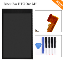 For HTC ONE M7 Black LCD Display Touch Screen Digitizer screen Assembly + tools ,free shipping+track No!!
