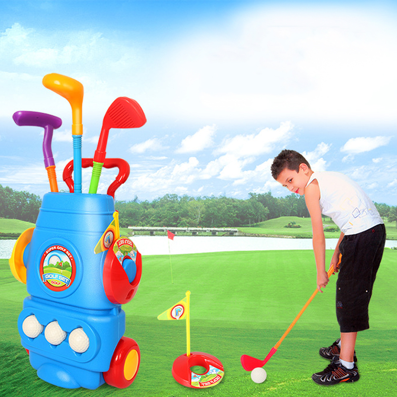 2016 New Children's indoor and outdoor fitness ball 39D simulation golf club set with high quality for family fun(China)