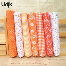 Urijk 7Pcs/set 25*25cm Orange Printing Fabric The Cloth Baby Doll Quilting DIY Patchwork Cotton Kids Bedding Sewing Supplies