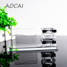 AAA K9 black Crystal Pen Pencils Holder Remote Control Case Box Business Card Stand Desk Organizer Set Office Table Accessories