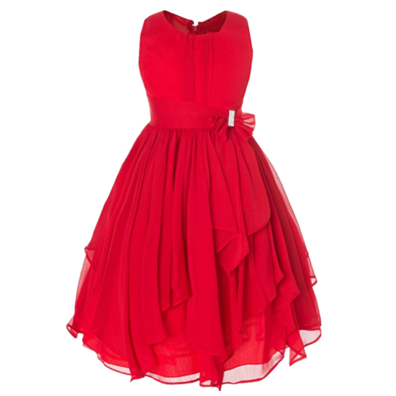 Fashion summer beach wedding children bridesmaid red white chiffon dresses for 14 year girls<br><br>Aliexpress