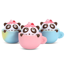 Squishy PU Sponge Slow Rising Simulate Cute Panda Coffee Cup Toy Decoration Squeeze Stress Reliever For Worker And Student Relax