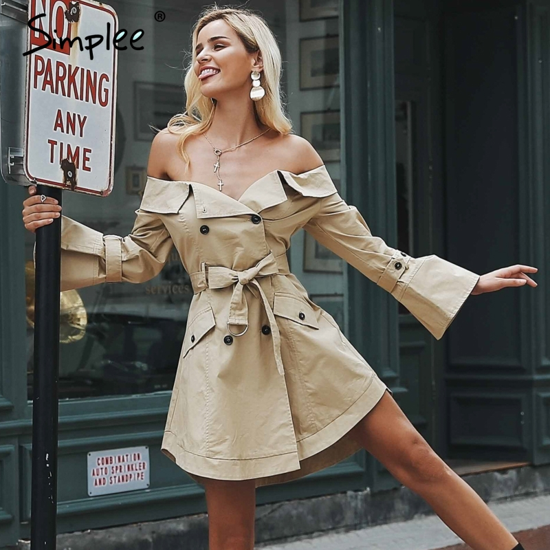 Simplee Sexy off shoulder trench dress women Elegant khaki outerwear dress Double breast sash casual autumn winter jacket female
