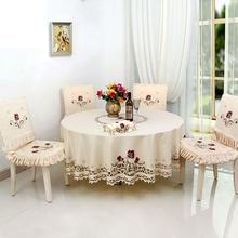 New Hot polyester embroidery table cloth home hotel wedding round tablecloth Home Table Textile Decoration