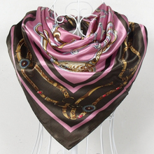 $5.04 free shipping fee,  Europe style chain pattern satin big square scarf,  silk scarf    90*90cm