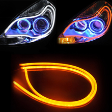 Tonewan Angel Eye 2x Daytime Running Light Tube Guide Soft and Flexible Car LED Strip DRL and turn signal lights 055 super offer(China)