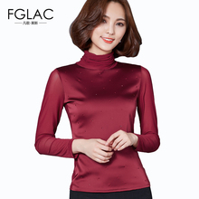 Buy FGLAC New Arrivals Autumn Mesh blouse Fashion long-sleeved Women tops Elegant Slim Turtleneck Mesh tops plus size women clothing for $9.77 in AliExpress store