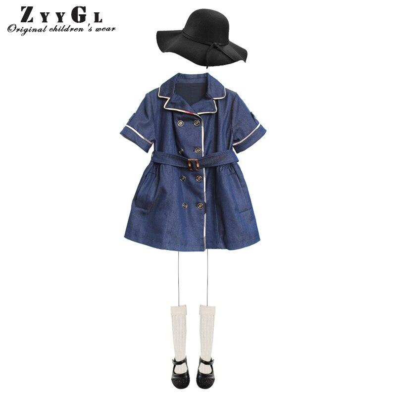 ZYYGL children dress 2017 New autumn Girls double breasted denim dress turn-down collar short sleeve kid dress children clothing<br>