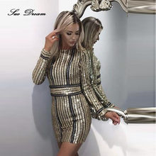 2017 New arrival women summer dress Long Sleeve gold sequined bandage Dress  fashion stripe mini Celebrity party dresses f4f1e2c0145b