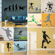 Football Player And Soccer Wall Art Decor Customized Wall Sticker For Kid's Boy Girl Room Fashion Sport Home Decor Vinyl Decals(China)