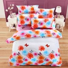 Romantic Colorful Butterfly Bedding Set,sweet Pink Fairy Girls Bedding,brand Soft High Quality Bed Cover Set,4pcs Sjt070