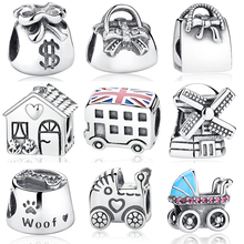 Handbag Windmill House Money Bags Baby Stroller London Bus Enamel Thread Charm Silver Charm Beads Fit Bracelet Necklace Jewelry(China)