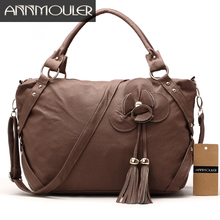 Annmouler Vintage Women Handbags Large Capacity Flower Shoulder Bag Faux Leather Tote Bag Tassel Brown Crossbody Messenger Bags(China)