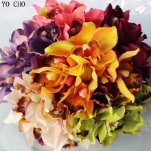 Orchid artificial flowers for wedding decorative silk voilet bridal bouquet Home decoration mariage Party Decoration 7heads(China)