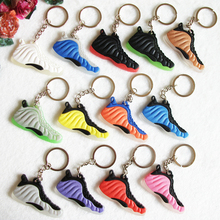 Mini Silicone Foamposites Keychain Bag Charm Woman Key Ring Gifts Sneaker Key Holder Pendant Accessories Jordan Shoes Key Chain(China)