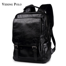 VIDENG POLO Men Bag Leather Men Backpack High Quality School Bag Male Laptop Daypack Casual Rucksack Mochila Travel Shoulder Bag