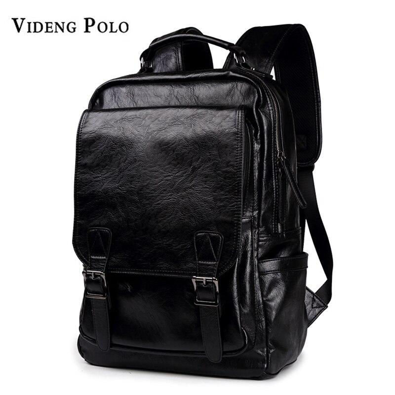 VIDENG POLO Men Bag Leather Men Backpack High Quality School Bag Male Laptop Daypack Casual Rucksack Mochila Travel Shoulder Bag<br>