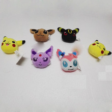 9cm Hot Anime Plush Toys Kawaii Eevee keychian Genius Soft Stuffed Animals Doll for Kids Toys  Gift