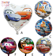 5pcs 18 inch heart&round shaped Red Cars Foil Balloons Children Gift Birthday/Party/Wedding Celebration Decoration Ballons