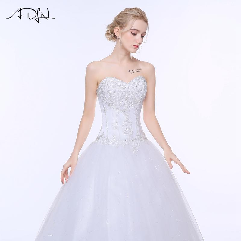 ADLN Wedding Dresses Vestidos de Novia Off the Shoulder Sweetheart Tulle Long Bride Dress Lace Up Back Plus Size In Stock 17