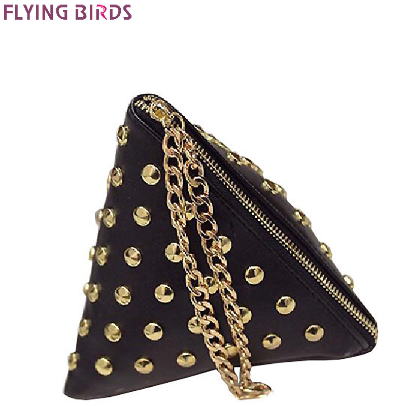 FLYING BIRDS women clutch rivet leather bags Triangular zipper bag ladies purse party bags high quality handbag 2017 LM4361fb<br><br>Aliexpress