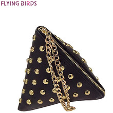 FLYING BIRDS women clutch rivet leather bags Triangular zipper bag ladies purse party bags high quality handbag 2017 LM4361fb(China)