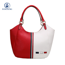 Ladies Bag 2017 Handbags Women Famous Brands Red & White Stitching Luxury Designer Handbag High Quality Pu Leather Tote Hand Bag(China)
