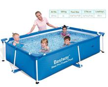 56402 BESTWAY 239*150*58cm Fish Pool/Foldable 3-Layer PVC+PE Square Pool/Large Square Metal Frame Swimming Pool for Kids & Adult(China)