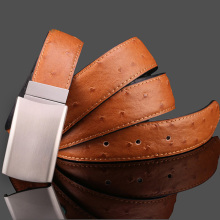 New Brand Designer Ostrich grain Belts Men High Quality Genuine Leather Automatic Buckle Belts For Men Double Sided Available