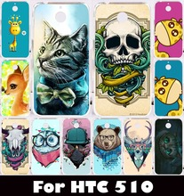 "Hard Plastic Soft TPU Silicon Mobile Phone Cover Case For HTC Desire 510 D510 4.7"" Cover Colorful Animal Cat Beer Housing Bag"