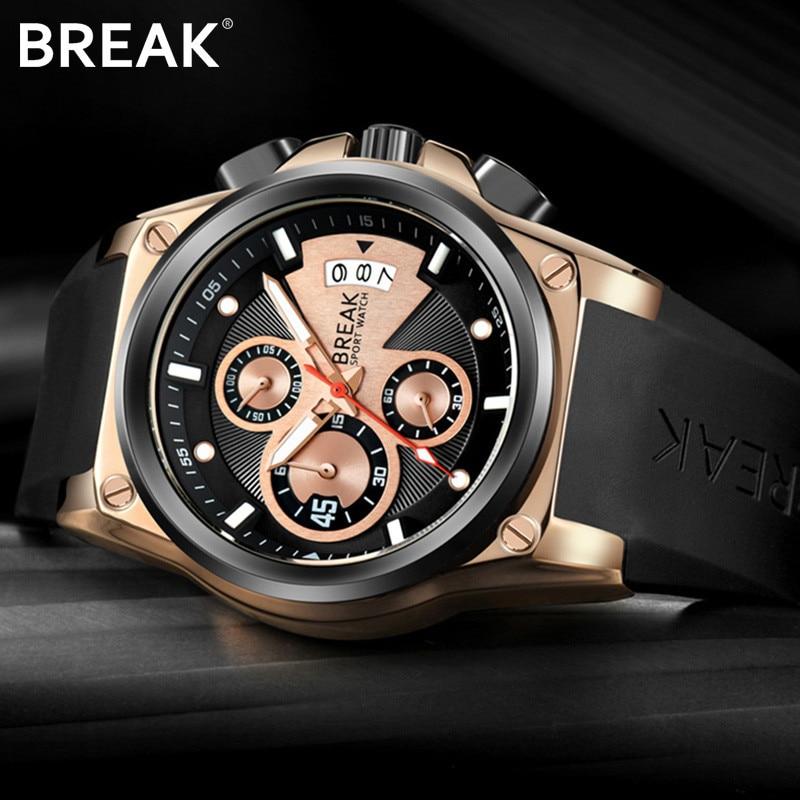 Break Mens Watches Top Brand Luxury Rubber Casual Quartz Watch Men Military Sport Waterproof Clock Gold Watch Relogio Masculino<br>
