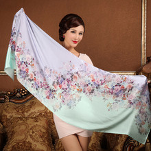 Ladies Brand Silk Shawl Scarf Printed Female Long Chain Scarves Wraps 2017 Summer Women Mulberry Silk Water Blue Scarf Cape(China)