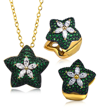 Gorgeous Star Shape Pendant Chain Necklace Clip earrings Color Stones CZ High quality Gift jewerly Ladies Designer Earring set(Hong Kong)