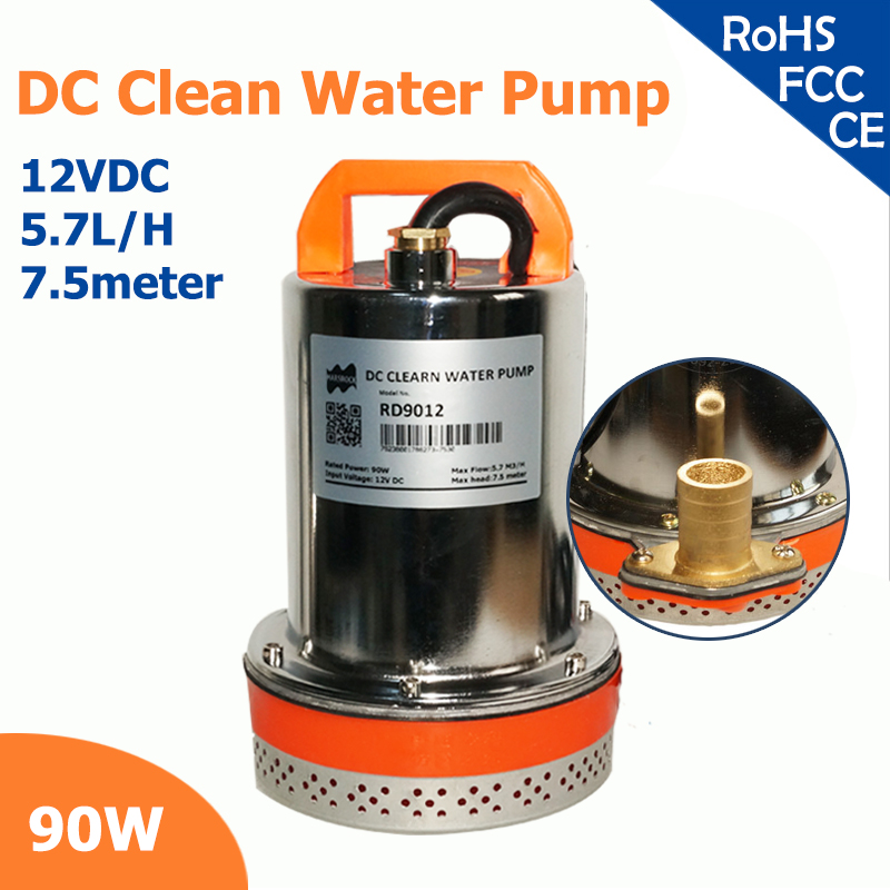 90W 12V DC 120VA clean water pump 2 inch outlet max flow 5.7 lift, max head 7.5 meter high CE approved<br><br>Aliexpress