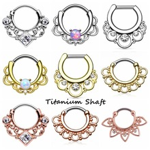 1PC 16G Nose Rings Tribal Fan Titanium Shaft Piercing Septo Real Septum Clickers Hinged Nose Hoop Rings Silver Gold Body Jewerly