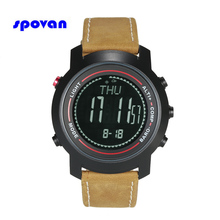 SPOVAN Men's Watch with Genuine Leather Band, Sport Watches Wristwatch Compass/Pacer/Waterproof/LED Backlight(China)