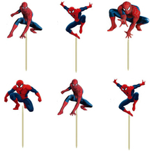 72pcs Super hero Spiderman Cartoon Cupcake Toppers Picks boy Kids children birthday party evnent decorations Foods friuts picks