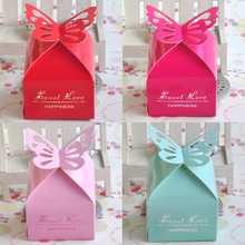 50pcs/lot DIY Happiness Sweet Love Candy Box Creative Small Butterfly Wedding Fresh Paper Candy Box Party Favor Gift Box