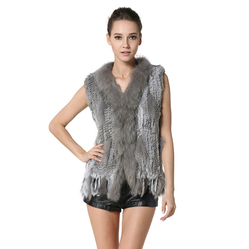 Hot Real Knitted Rabbit Fur Vest with Raccoon Fur Collar Women Gilet Fashion Spring/Autumn Waistcoat with Tassels AU00003(China (Mainland))