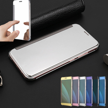 Luxury OEM Touch Mirror Smart View Clear Flip Case Cover For Samsung Galaxy J3 J5 J7 Max J2 Prime A3 A5 A7 2015 2016 2017 A810(China)