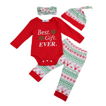 Cute Newborn Baby Best Gift EVER Romper+pants+Hat+Headband 4PCs Boy Girl Christmas Clothes(China)