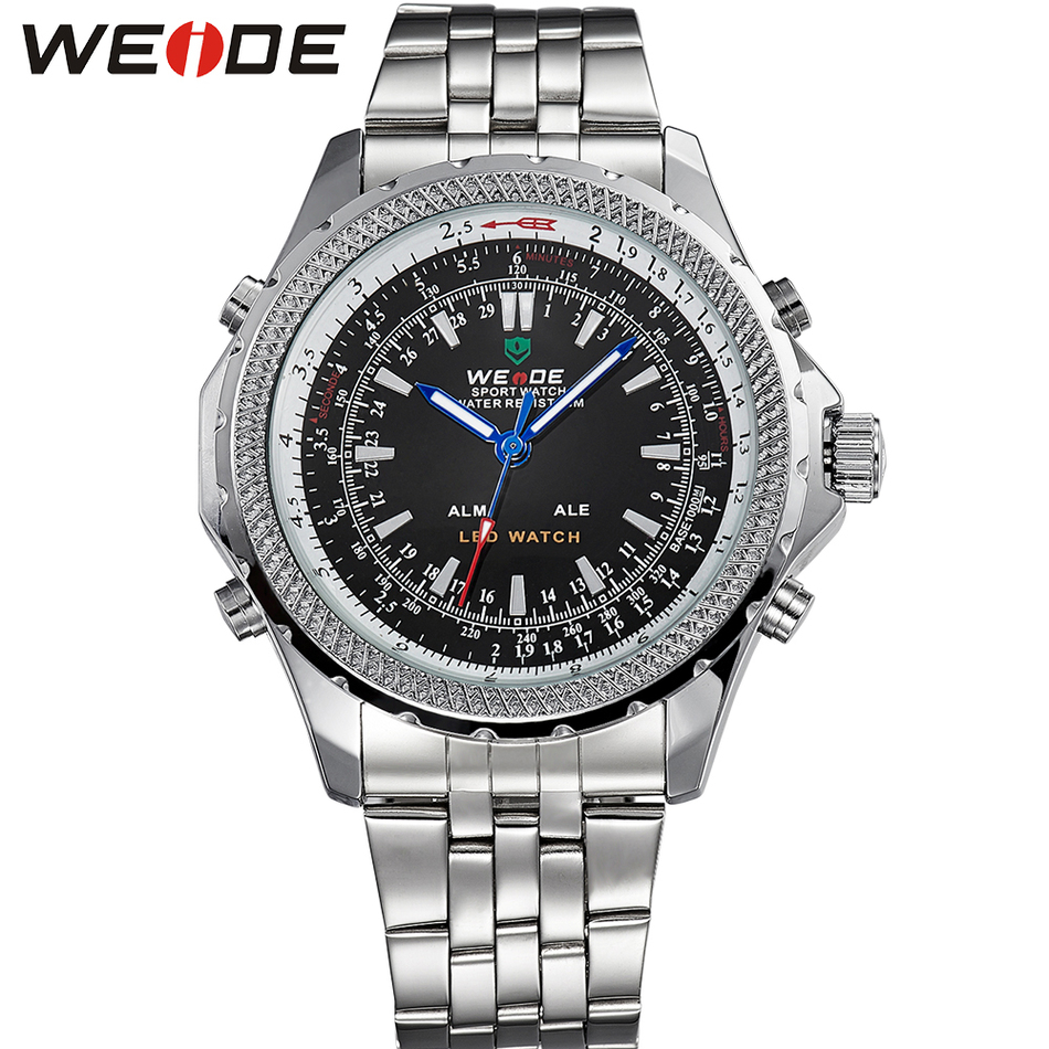WEIDE Brand Men Quartz Watch Relogio Masculino Stainless Steel analog Display business sports Waterproof Wristwatches male clock<br><br>Aliexpress