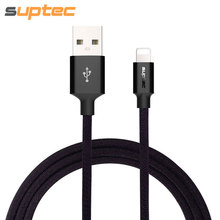 SUPTEC Premium Nylon Braided USB Cable for iPhone X 8 7 6 6s plus 5s 5 SE SE iPad air mini iPod Fast Charging Cable Charger Cord(China)