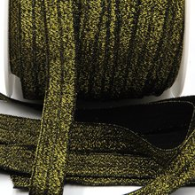 50yds/lot New Arrival 5/8 Inch FOE Glitter  Elastic for Headband&Hair Ties Free Shipping (Black with Gold Silk)
