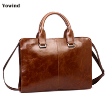 YOWIND High Quality PU leather briefcases Laptop bag men's Briefcase work Business Handbag Messenger/Shoulder Bags male gift(China)