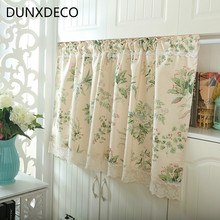 DUNXDECO 1PC 140x60CM American Country Style Garden Flowers Green Plants Poly Cotton Door Curtains Kitchen Half Tulle Curtain