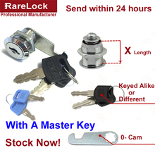 LHX Security Drawer Cam Lock with the Master Key  for Door Mailbox Cabinet Tool Box with 2 Keys DIY Furniture Hardware a